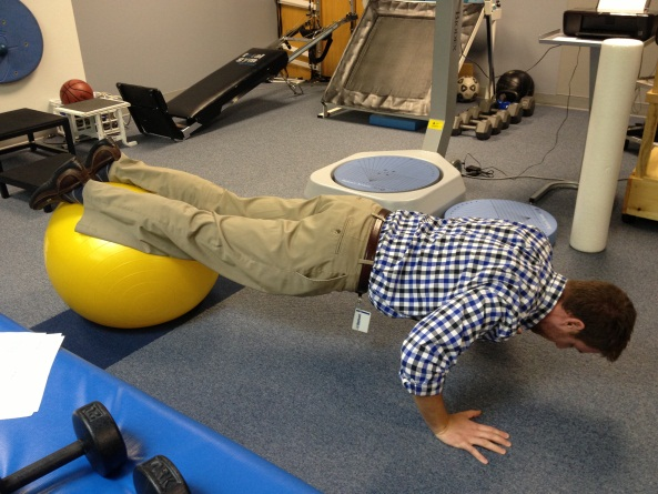 Exercise Ball Push Up