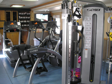 Inside Depuy Mitek Fitness Trailer