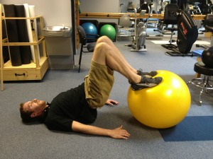 Exercise ball leg curl
