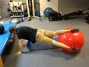 Exercise ball plank twist