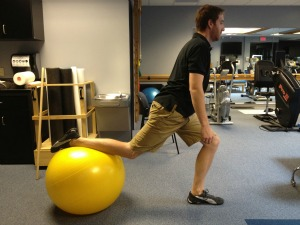 Exercise ball single leg squat