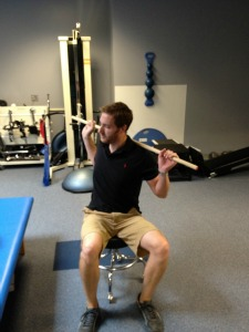 Seated barbell rotation