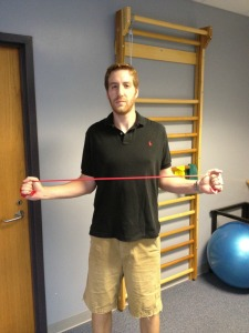 Bilateral shoulder external rotation with band