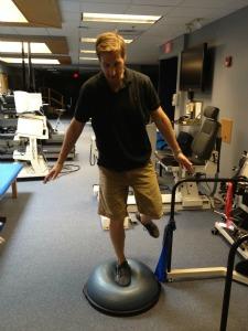 single leg balance on bosu ball