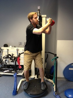 BOSU squat with rotation