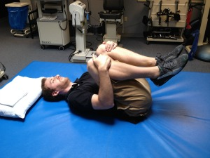 Double knee to chest stretch