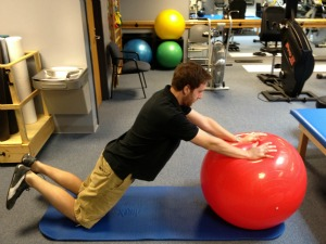 Exercise ball ab roll