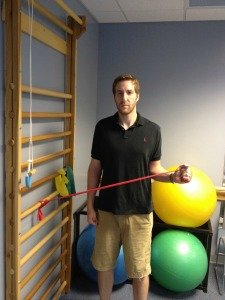 Shoulder external rotation with band
